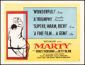 """Movie Posters:Drama, Marty (United Artists, 1955). Rolled, Fine/Very Fine. Half Sheet (22"""" X 28.5"""") Style A. Drama.. ..."""