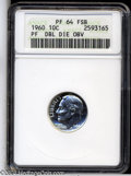 Proof Roosevelt Dimes: , 1960 Doubled Die Obverse PR64 Full Bands ANACS. ...