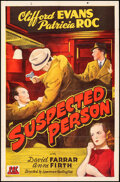 """Movie Posters:Crime, Suspected Person (PRC, 1943). Folded, Fine/Very Fine. One Sheet (27"""" X 41""""). Crime.. ..."""