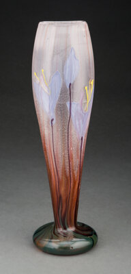 Tall Gallé Marquetry and Wheel-Carved Glass Crocus Vase, circa 1900 Marks: Gallé 13-3/4 inches (34.9 cm)...