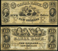 New Orleans, LA- Canal Bank $5; $10 18__ Remainders Crisp Uncirculated. ... (Total: 2 notes)