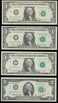 $1 and $2 Federal Reserve Notes Choice Crisp Uncirculated. Fr. 1901-B $1 1963A; Fr. 1908-G; I $1 1974; Fr. 1935... (Tota...