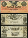 Obsoletes By State:Louisiana, New Orleans, LA- New Orleans Canal & Banking Company $10; $50; $100 18__; 1835; 18__ Remainders Choice About Uncirculated... (Total: 3 notes)