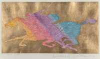 Guillaume Azoulay (b. 1949) Couplé, 2014 Serigraph in colors with hand laid gold leaf on paper 20 x 26-1/2 inches...