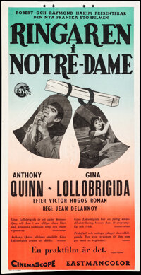 """The Hunchback of Notre Dame & Other Lot (Iris Film, 1957). Folded, Fine/Very Fine. Swedish Inserts (3) (12.5"""" X..."""
