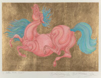 Guillaume Azoulay (b. 1949) Hidden Horse, 2014 Serigraph in colors with hand laid gold leaf on paper 20 x 26-1/2 inch