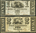 New Orleans, LA- Bank of Louisiana $1; $2 Sep. 19, 1861 Fine or Better. ... (Total: 2 notes)
