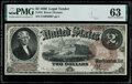 Large Size:Legal Tender Notes, Fr. 52 $2 1880 Legal Tender PMG Choice Uncirculated 63.. ...