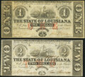 Baton Rouge, LA- State of Louisiana $1; $2 Feb. 24, 1862 Cr. 3; Cr. 2 Very Fine or Better. ... (Total: 2 notes)