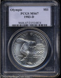 Modern Issues: , 1983-D Olympic Silver Dollar MS67 PCGS. ...