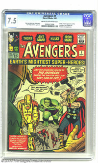 The Avengers #1 (Marvel, 1963) CGC VF- 7.5 Cream to off-white pages. Origin and first appearance of the Avengers. Jack K...