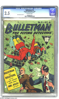 Bulletman #8 (Fawcett, 1942) CGC GD+ 2.5 Off-white pages. Dave Berg story and art. Overstreet 2003 GD 2.0 value = $80. F...
