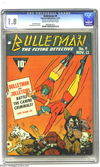 Bulletman #9 (Fawcett, 1942) CGC GD- 1.8 Cream to off-white pages. Otto Binder story. Dave Berg story and art. Overstree...