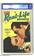 Golden Age (1938-1955):Romance, Real Life Secrets #1 Mile High pedigree (Ace, 1949) CGC VF- 7.5Off-white to white pages. Overstreet 2002 VF 8.0 value = $61...
