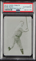Baseball Cards:Singles (1970-Now), 2010 Topps Tribute Babe Ruth (Cyan Printing Plate) #1 PSA ...