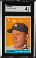 Baseball Cards:Singles (1950-1959), 1958 Topps Mickey Mantle #150 SGC VG-EX 4. Offered...
