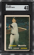 Baseball Cards:Singles (1950-1959), 1957 Topps Mickey Mantle #95 SGC VG-EX 4. The migh...