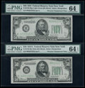 Small Size:Federal Reserve Notes, Fr. 2103-B/Fr. 2102-B $50 1934A/1934 Federal Reserve Notes. Reverse Changeover Pair. PMG Graded Choice Uncirculated 64 EPQ; Ch...