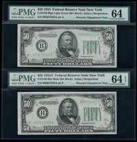 Fr. 2103-B/Fr. 2102-B $50 1934A/1934 Federal Reserve Notes. Reverse Changeover Pair. PMG Graded Choice Uncirculated 64 E...