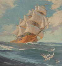 James Allen St. John (American, 1872-1957) Flying Sails, My Book House cover, 1937 Oil on canvas