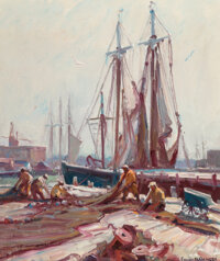Emile Albert Gruppe (American, 1896-1978) Mending The Nets, Gloucester Harbor Oil on canvas 24 x 20 inches (61.0 x 50