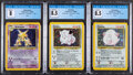 Memorabilia:Trading Cards, Pokémon Unlimited Base Set Trading Cards Group of 3 (Wizards of the Coast, 1999) CGC Graded. ... (Total: 3 Items)