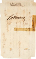 """Autographs:Statesmen, Robert Morris Document Signed. One page, 8"""" x 5"""",..."""