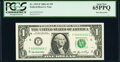 Low Serial Number 666 Fr. 1933-F $1 2006 Federal Reserve Note. PCGS Gem New 65PPQ