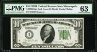 Fr. 2002-I $10 1928B Federal Reserve Note. PMG Choice Uncirculated 63