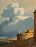 Paintings, Eric Sloane (American, 1905-1985). Sentinels. Oil and pencil on Masonite. 22-1/2 x 17-3/8 inches (57...