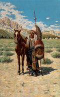 Paintings, John Hauser (American, 1858-1913). Chief and His Horse. Oil on canvas. 32 x 20 inches (81.3 x 50.8 c...