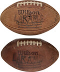 Football Collectibles:Balls, 1980's Jack Youngblood Game Footballs Lot of 2 from The Ja...