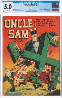 Uncle Sam Quarterly #5 (Quality, 1942) CGC VG/FN 5.0 Off-white pages