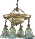 Lighting, Metal Chandelier with Five Quezal Iridescent Glass Shades, circa 1920. 17 x 17 x 16 inches (43.2 x 43.2 x 40.6 cm)