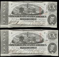 Confederate Notes:1863 Issues, T58 $20 1863 PF-19 Cr. 423 Two Examples Choice CU, CC; AU, CC.. ... (Total: 2 notes)