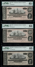 Confederate Notes:1864 Issues, T67 $20 1864 Three Examples. PMG Graded Choice Uncirculated 63 EPQ (2); Gem Uncirculated 65 EPQ.. ... (Total: 3 not...