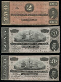 Confederate Notes:1864 Issues, T67 $20 1864 PF-36 Cr. 536 Two Consecutive Examples Very Fine.. T70 $2 1864 PF-11 Cr. UNL VG-Fine.. .....