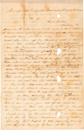 Autographs:Military Figures, Letter of an Unknown Confederate Soldier of the 4th Texas Cavalry, Arizona Brigade Discussing a Skirmish in the Rio Grande Ca...