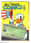 Golden Age (1938-1955):Funny Animal, Walt Disney's Comics and Stories #46 (Dell, 1944). Carl Barks art.Patriotic cover. Overstreet 2003 VG 4.0 value = $74....