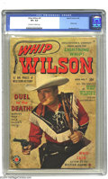 Golden Age (1938-1955):Western, Whip Wilson #9 (Marvel, 1950) CGC VF+ 8.5 Off-white to white pages.Photo cover, origin Bullet. Joe Maneely art. To date, th...