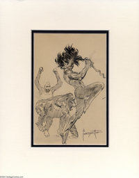 Frank Frazetta - Ape Dance Sketch Original Art (undated). A savage figure, with his knife drawn, dances with two apes. N...