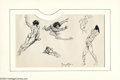 Original Comic Art:Sketches, Frank Frazetta - Original Sketches of Nude Male Figures (undated). In lines that seem to flow effortlessly across the paper,...