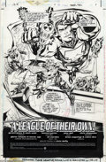 Original Comic Art:Splash Pages, Howard Porter and John Dell - JLX #1 Splash Page Original Art (DC, 1996). This Amalgam splash page fuses the JLA characters ...