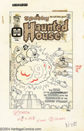 Original Comic Art:Covers, Howie Post - Spooky Haunted House #16 Original Cover Art and ColorGuide (Harvey, circa 1974). Spooky finds himself attacked...(Total: 2 items Item)