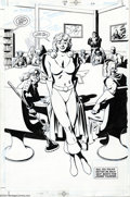 Original Comic Art:Splash Pages, Peter Snejbjerg - JSA #31, page 22 Splash Page Original Art (DC,2002). It's Power Girl, front and center, in this great JSA...