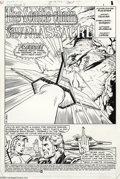 Original Comic Art:Splash Pages, Mark Texeira and Carlos Garzon - Hex #5 Splash Page Original Art(DC, 1986). Jonah Hex is attacked by a starship in the far-...