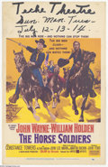 "Movie Posters:Western, Horse Soldiers, The (United Artists, 1959). Window Card (14"" X22""). John Wayne and William Holden star in this John Ford we..."