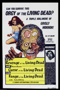 """Movie Posters:Horror, Orgy of the Living Dead (Europix International, 1972). One Sheet (27"""" X 41""""). This compilation sheet of three of the """"Living..."""