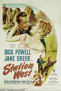 "Movie Posters:Western, Station West (RKO, 1948). One Sheet (27"" X 41""). This is a westernfilm noir with Dick Powell as the undercover military off..."