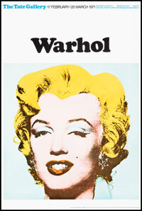 """Andy Warhol Exhibition Poster (Tate Gallery, 1971). Rolled, Very Fine+. British Poster (20"""" X 30""""). Miscellane..."""